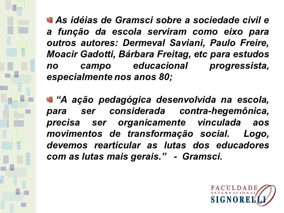 As idéias de Gramsci sobre a sociedade civil e a função da escola serviram como eixo para outros autores: Dermeval Saviani, Paulo Freire, Moacir Gadot