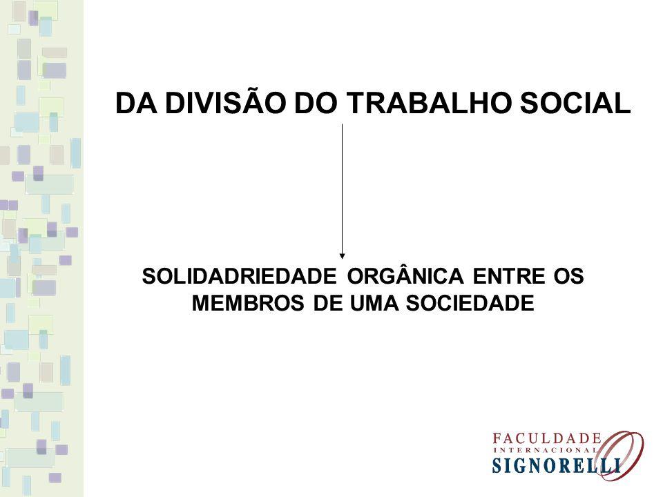 DA DIVISÃO DO TRABALHO SOCIAL SOLIDADRIEDADE ORGÂNICA ENTRE OS MEMBROS DE UMA SOCIEDADE