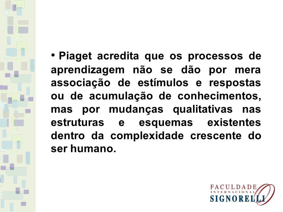 Piaget acredita que os processos de aprendizagem não se dão por mera associação de estímulos e respostas ou de acumulação de conhecimentos, mas por mu