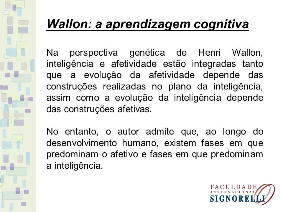 Wallon: a aprendizagem cognitiva Na perspectiva genética de Henri Wallon, inteligência e afetividade estão integradas tanto que a evolução da afetivid