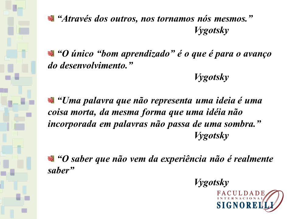 Através dos outros, nos tornamos nós mesmos. Vygotsky O único bom aprendizado é o que é para o avanço do desenvolvimento. Vygotsky Uma palavra que não