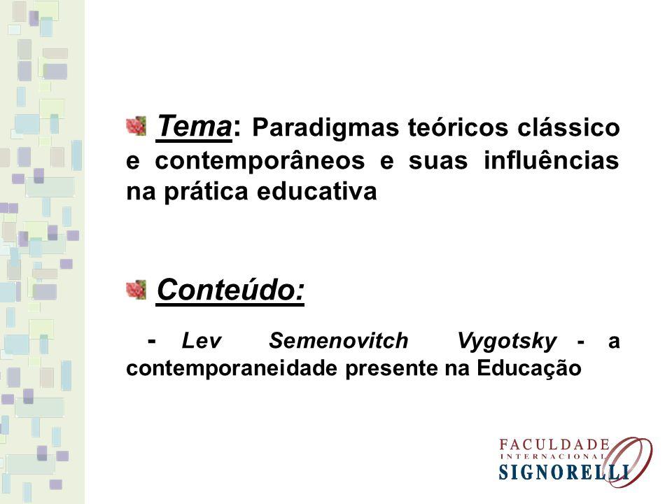 Tema: Paradigmas teóricos clássico e contemporâneos e suas influências na prática educativa Conteúdo: - Lev Semenovitch Vygotsky - a contemporaneidade
