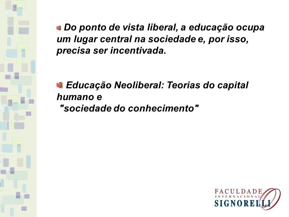 A educação neoliberal está voltada, basicamente, a três objetivos: -Atrelar a educação escolar à preparação para o trabalho; -Tornar a escola um meio de transmissão; - Fazer da escola um mercado para os produtos da indústria cultural e da informática.