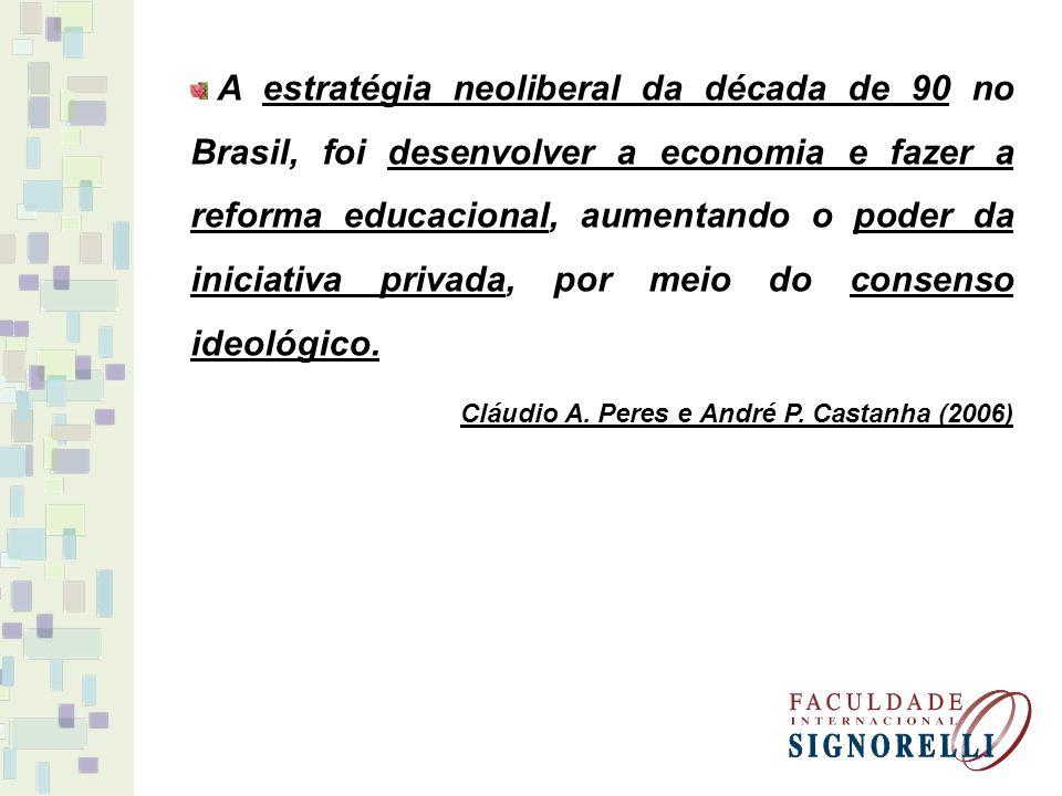 A estratégia neoliberal da década de 90 no Brasil, foi desenvolver a economia e fazer a reforma educacional, aumentando o poder da iniciativa privada,