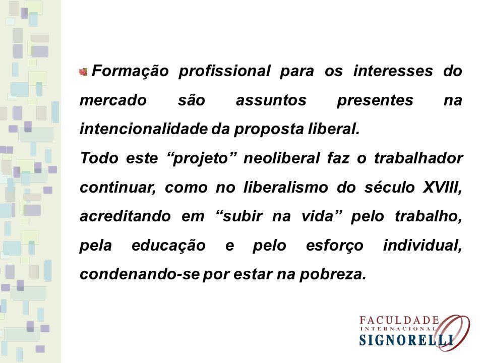 Formação profissional para os interesses do mercado são assuntos presentes na intencionalidade da proposta liberal. Todo este projeto neoliberal faz o