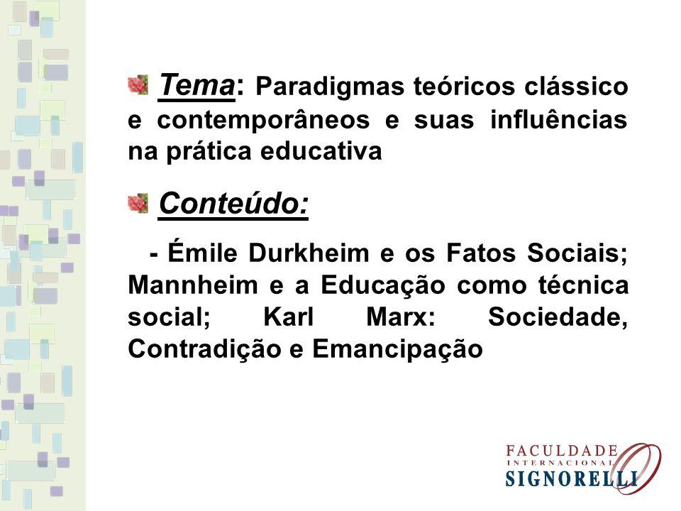 Tema: Paradigmas teóricos clássico e contemporâneos e suas influências na prática educativa Conteúdo: - Émile Durkheim e os Fatos Sociais; Mannheim e