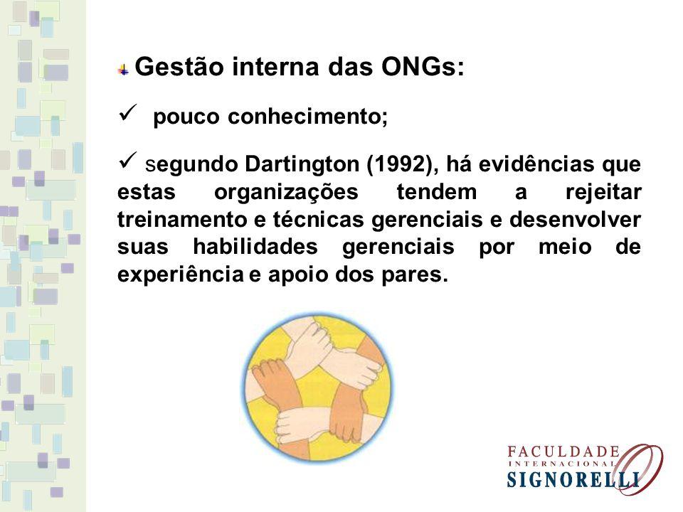 Gestão interna das ONGs: pouco conhecimento; segundo Dartington (1992), há evidências que estas organizações tendem a rejeitar treinamento e técnicas gerenciais e desenvolver suas habilidades gerenciais por meio de experiência e apoio dos pares.