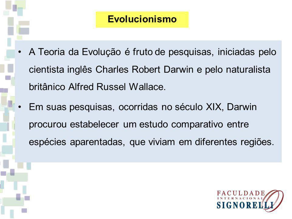 A Teoria da Evolução é fruto de pesquisas, iniciadas pelo cientista inglês Charles Robert Darwin e pelo naturalista britânico Alfred Russel Wallace. E