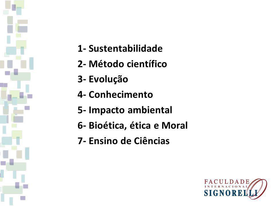1- Sustentabilidade 2- Método científico 3- Evolução 4- Conhecimento 5- Impacto ambiental 6- Bioética, ética e Moral 7- Ensino de Ciências