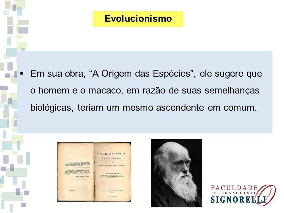 Em sua obra, A Origem das Espécies, ele sugere que o homem e o macaco, em razão de suas semelhanças biológicas, teriam um mesmo ascendente em comum. E