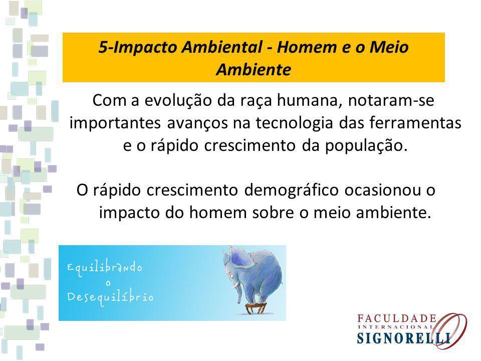 5-Impacto Ambiental - Homem e o Meio Ambiente Com a evolução da raça humana, notaram-se importantes avanços na tecnologia das ferramentas e o rápido c
