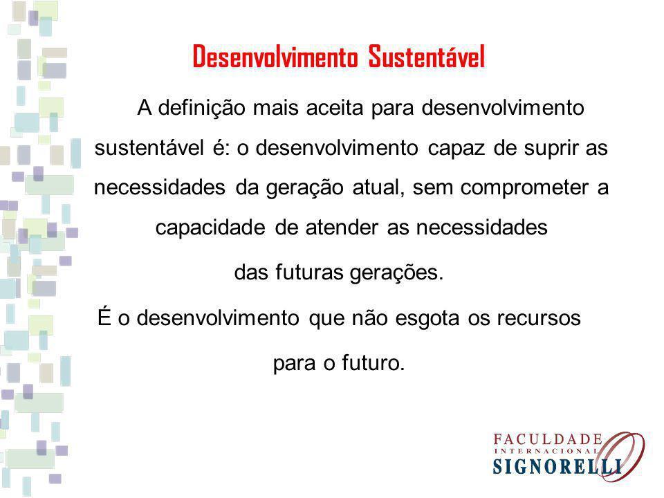 A definição mais aceita para desenvolvimento sustentável é: o desenvolvimento capaz de suprir as necessidades da geração atual, sem comprometer a capa