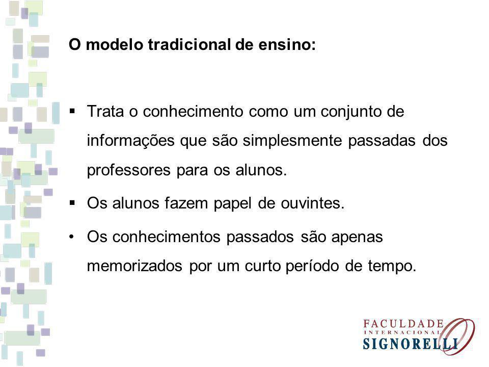 O modelo tradicional de ensino: Trata o conhecimento como um conjunto de informações que são simplesmente passadas dos professores para os alunos. Os