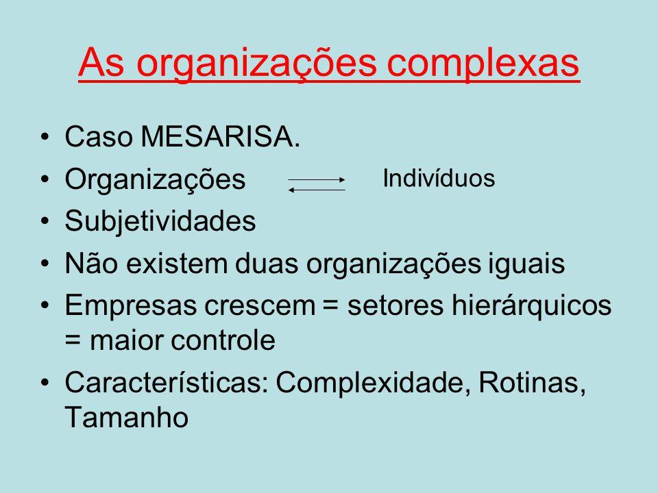 As organizações complexas Caso MESARISA. Organizações Subjetividades Não existem duas organizações iguais Empresas crescem = setores hierárquicos = ma