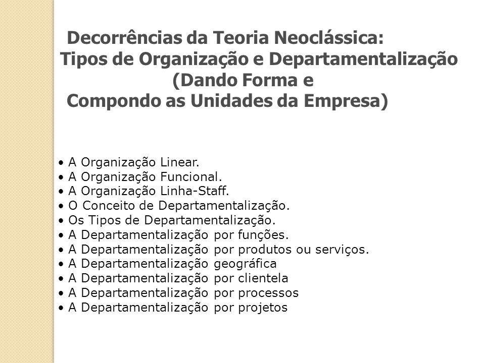 Decorrências da Teoria Neoclássica: Tipos de Organização e Departamentalização (Dando Forma e Compondo as Unidades da Empresa) A Organização Linear. A
