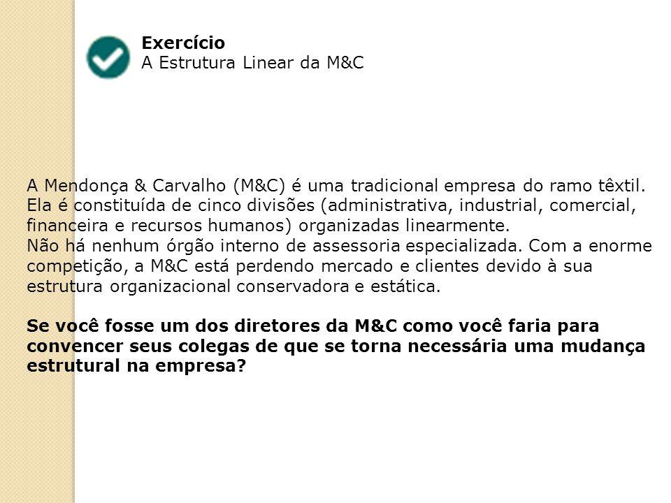 Exercício A Estrutura Linear da M&C A Mendonça & Carvalho (M&C) é uma tradicional empresa do ramo têxtil. Ela é constituída de cinco divisões (adminis