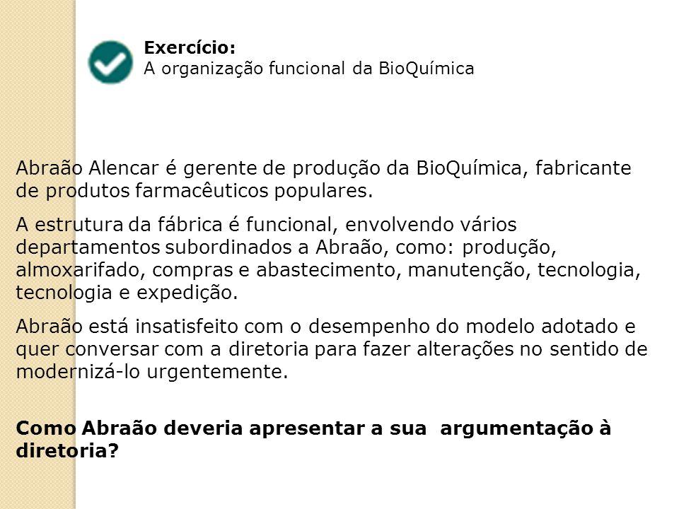 Exercício: A organização funcional da BioQuímica Abraão Alencar é gerente de produção da BioQuímica, fabricante de produtos farmacêuticos populares. A