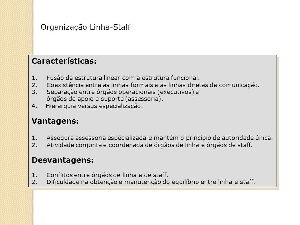 Organização Linha-Staff Características: 1.Fusão da estrutura linear com a estrutura funcional. 2.Coexistência entre as linhas formais e as linhas dir