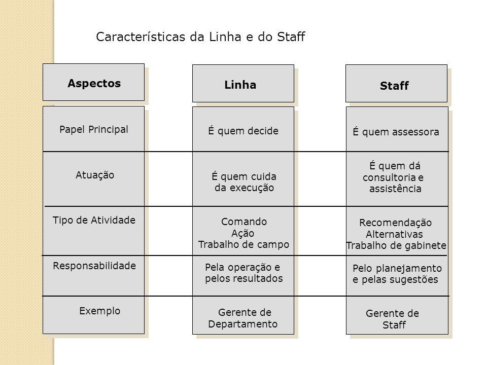Staff É quem assessora É quem dá consultoria e assistência Recomendação Alternativas Trabalho de gabinete Pelo planejamento e pelas sugestões Gerente