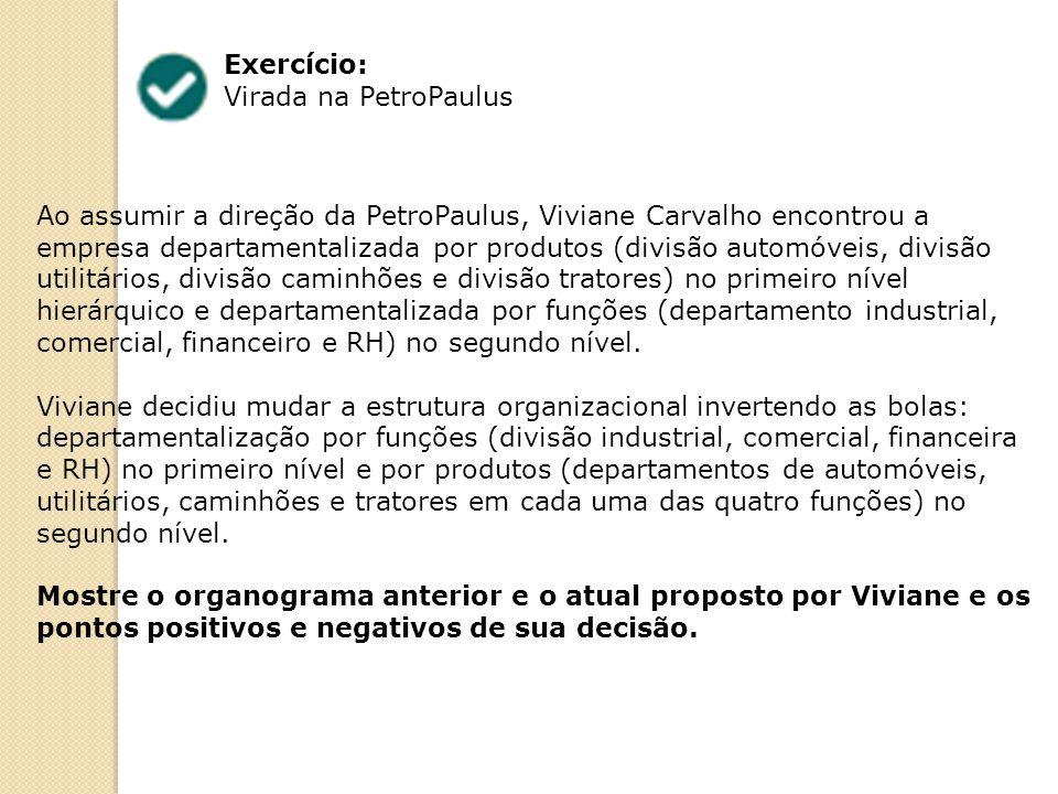 Exercício: Virada na PetroPaulus Ao assumir a direção da PetroPaulus, Viviane Carvalho encontrou a empresa departamentalizada por produtos (divisão automóveis, divisão utilitários, divisão caminhões e divisão tratores) no primeiro nível hierárquico e departamentalizada por funções (departamento industrial, comercial, financeiro e RH) no segundo nível.