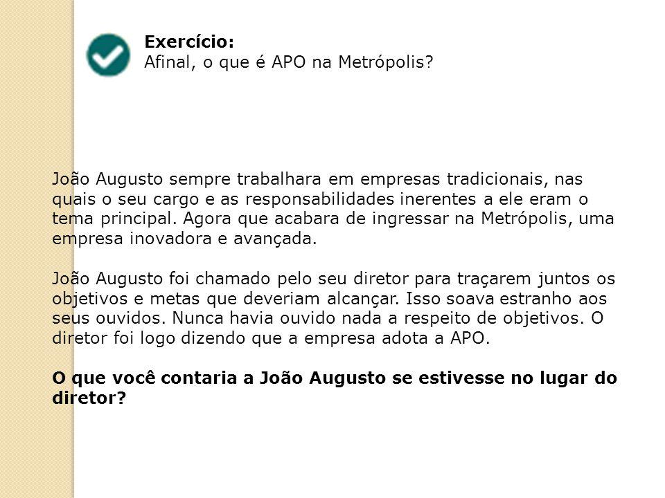Exercício: Afinal, o que é APO na Metrópolis? João Augusto sempre trabalhara em empresas tradicionais, nas quais o seu cargo e as responsabilidades in