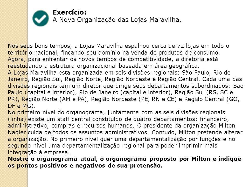 Exercício: A Nova Organização das Lojas Maravilha.