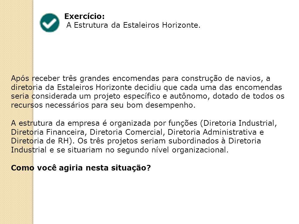 Exercício: A Estrutura da Estaleiros Horizonte. Após receber três grandes encomendas para construção de navios, a diretoria da Estaleiros Horizonte de