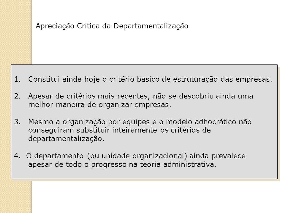 Apreciação Crítica da Departamentalização 1.Constitui ainda hoje o critério básico de estruturação das empresas. 2.Apesar de critérios mais recentes,