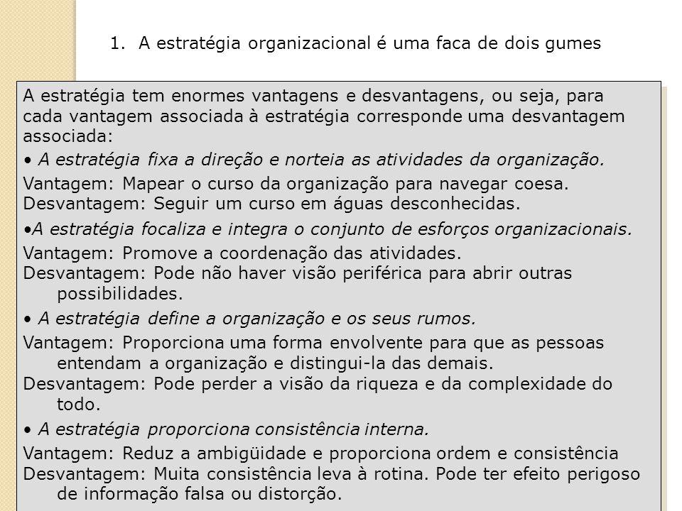 A estratégia tem enormes vantagens e desvantagens, ou seja, para cada vantagem associada à estratégia corresponde uma desvantagem associada: A estratégia fixa a direção e norteia as atividades da organização.