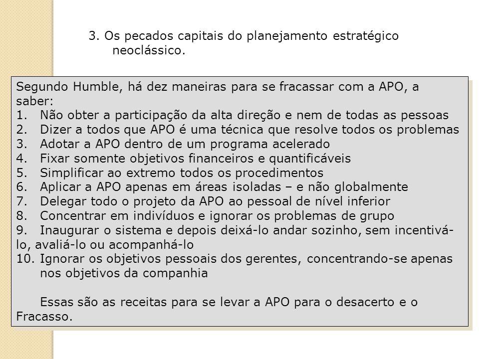 Segundo Humble, há dez maneiras para se fracassar com a APO, a saber: 1.Não obter a participação da alta direção e nem de todas as pessoas 2.Dizer a t