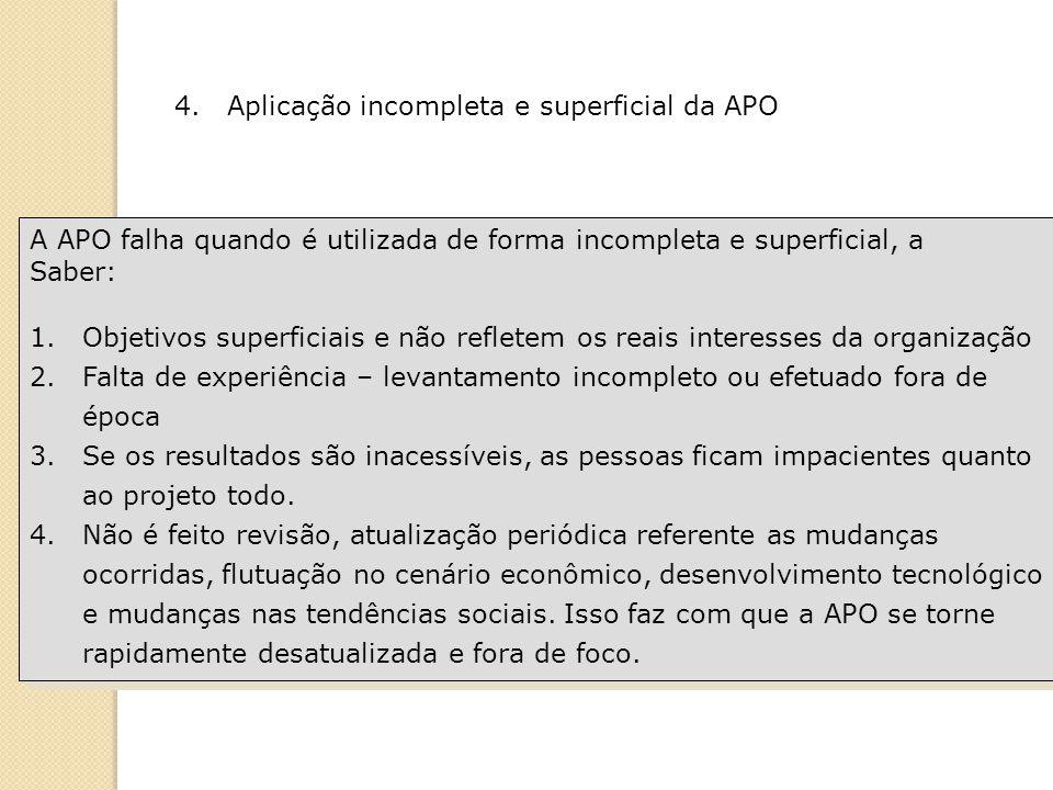 A APO falha quando é utilizada de forma incompleta e superficial, a Saber: 1.Objetivos superficiais e não refletem os reais interesses da organização