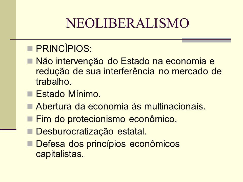 NEOLIBERALISMO PRINCÌPIOS: Não intervenção do Estado na economia e redução de sua interferência no mercado de trabalho.