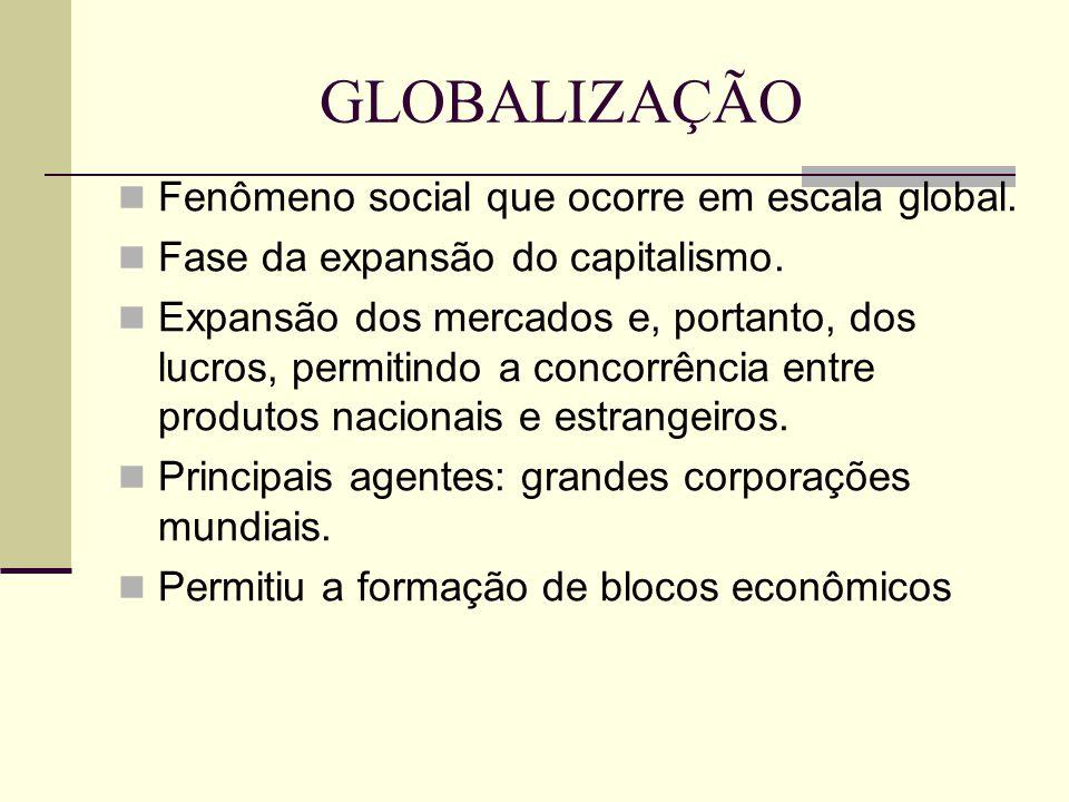 GLOBALIZAÇÃO Fenômeno social que ocorre em escala global.