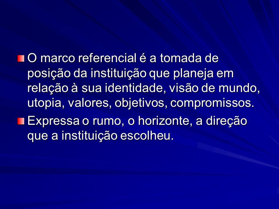 O marco referencial é a tomada de posição da instituição que planeja em relação à sua identidade, visão de mundo, utopia, valores, objetivos, compromi