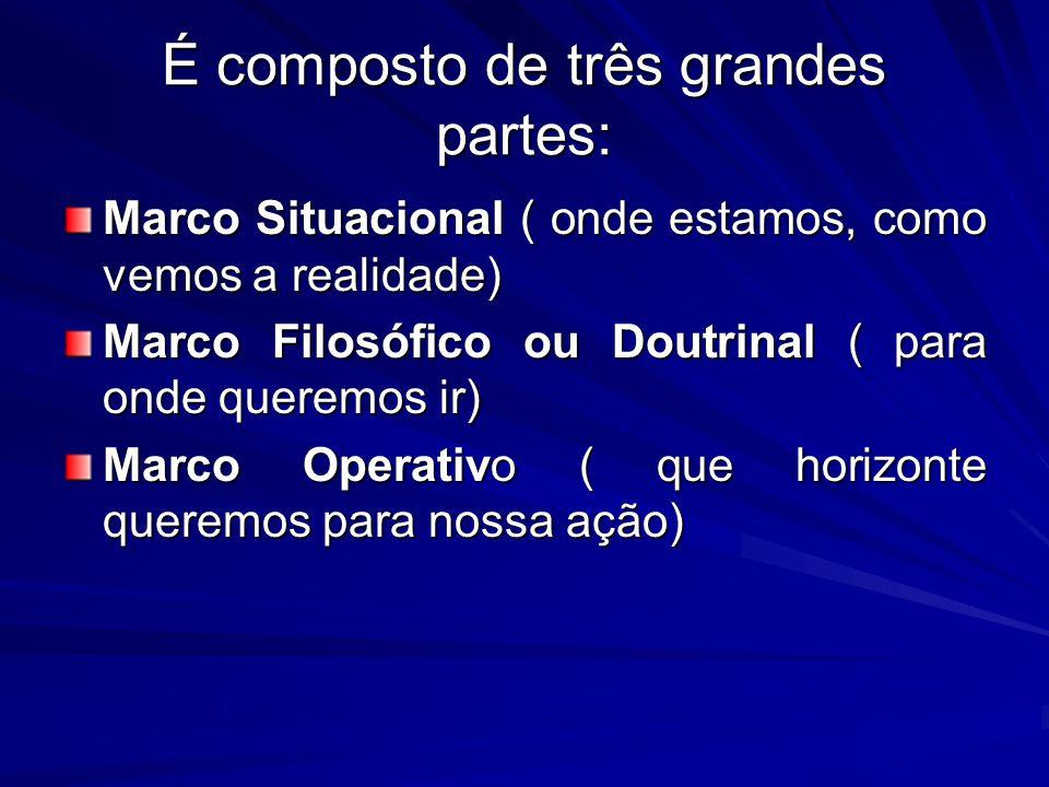 É composto de três grandes partes: Marco Situacional ( onde estamos, como vemos a realidade) Marco Filosófico ou Doutrinal ( para onde queremos ir) Marco Operativo ( que horizonte queremos para nossa ação)
