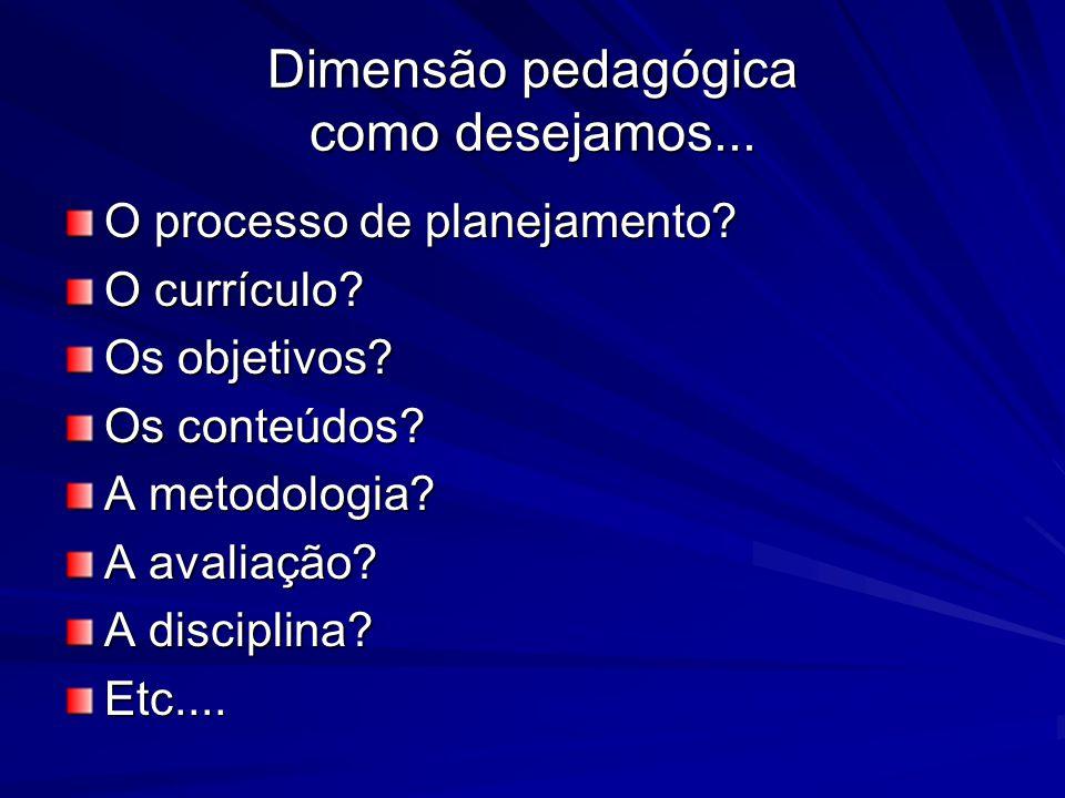 Dimensão pedagógica como desejamos... O processo de planejamento? O currículo? Os objetivos? Os conteúdos? A metodologia? A avaliação? A disciplina? E