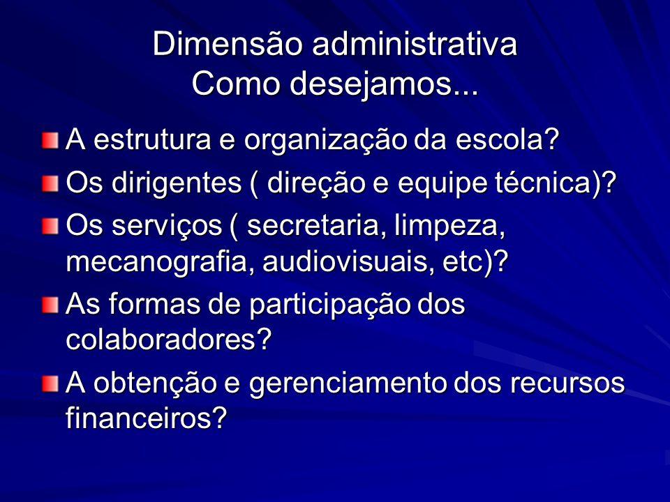 Dimensão administrativa Como desejamos... A estrutura e organização da escola? Os dirigentes ( direção e equipe técnica)? Os serviços ( secretaria, li