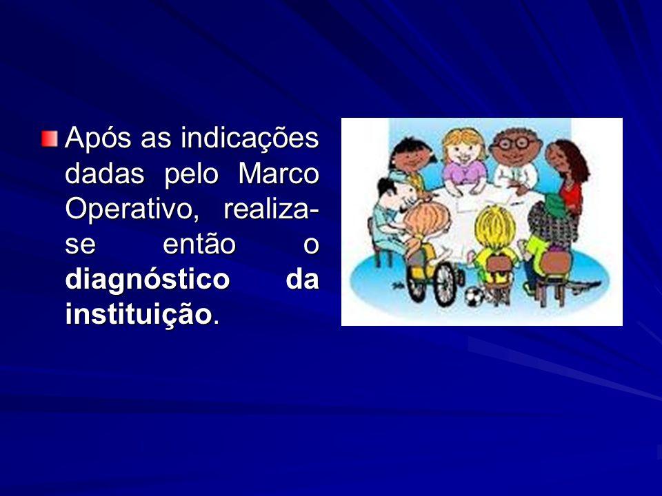 Após as indicações dadas pelo Marco Operativo, realiza- se então o diagnóstico da instituição.