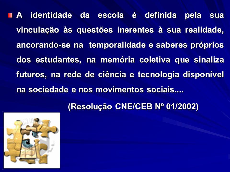 A identidade da escola é definida pela sua vinculação às questões inerentes à sua realidade, ancorando-se na temporalidade e saberes próprios dos estu