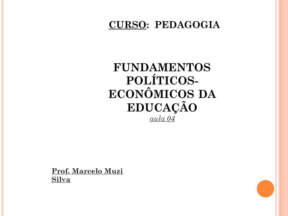 FUNDAMENTOS POLÍTICOS- ECONÔMICOS DA EDUCAÇÃO aula 04 CURSO: PEDAGOGIA Prof. Marcelo Muzi Silva