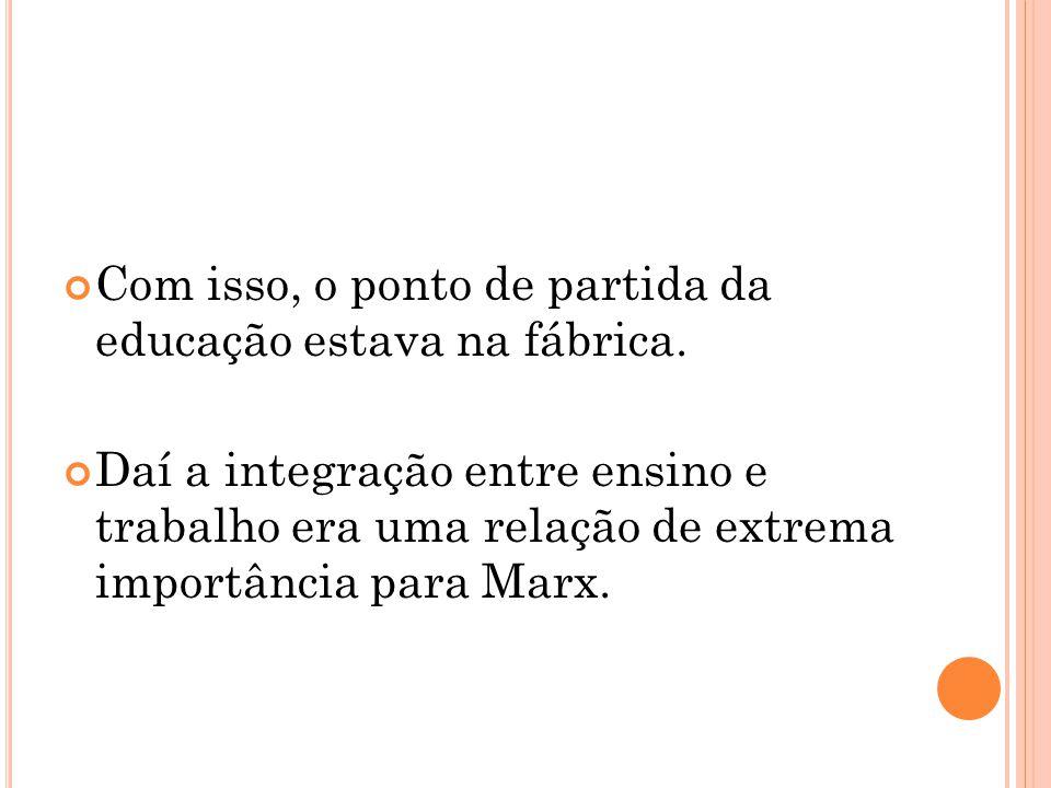 Com isso, o ponto de partida da educação estava na fábrica. Daí a integração entre ensino e trabalho era uma relação de extrema importância para Marx.