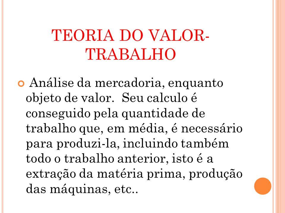 TEORIA DO VALOR- TRABALHO Análise da mercadoria, enquanto objeto de valor.