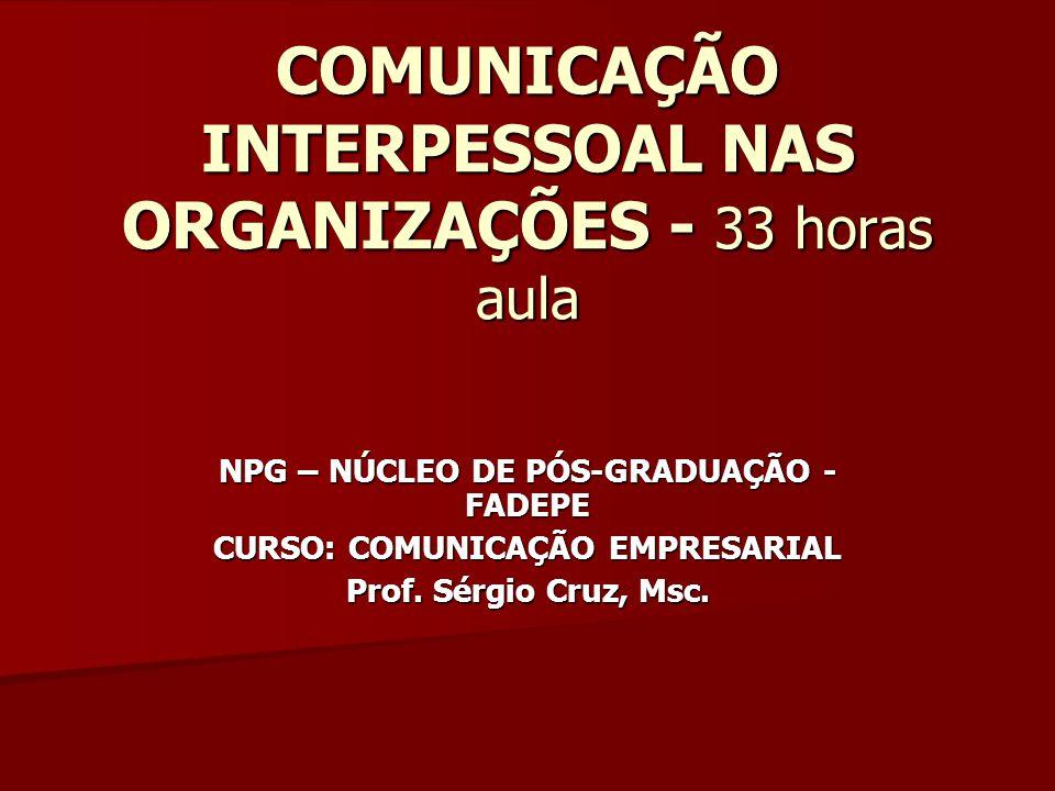 COMUNICAÇÃO INTERPESSOAL NAS ORGANIZAÇÕES - 33 horas aula NPG – NÚCLEO DE PÓS-GRADUAÇÃO - FADEPE CURSO: COMUNICAÇÃO EMPRESARIAL Prof. Sérgio Cruz, Msc