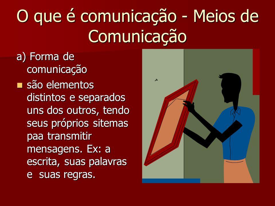 O que é comunicação - Meios de Comunicação a) Forma de comunicação são elementos distintos e separados uns dos outros, tendo seus próprios sitemas paa