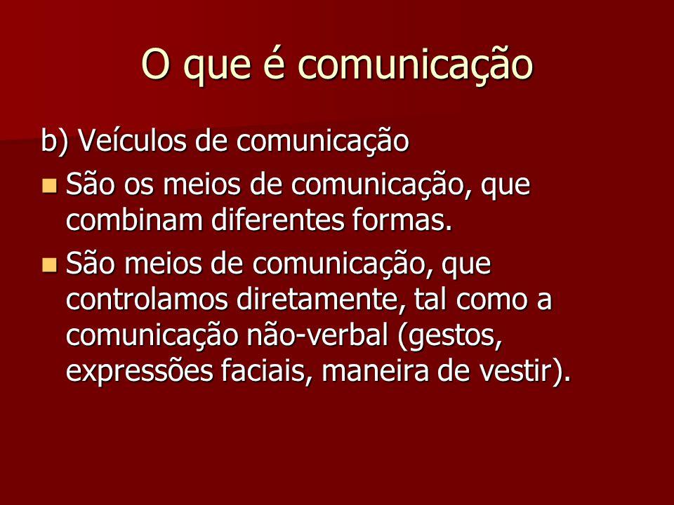 O que é comunicação b) Veículos de comunicação São os meios de comunicação, que combinam diferentes formas. São os meios de comunicação, que combinam