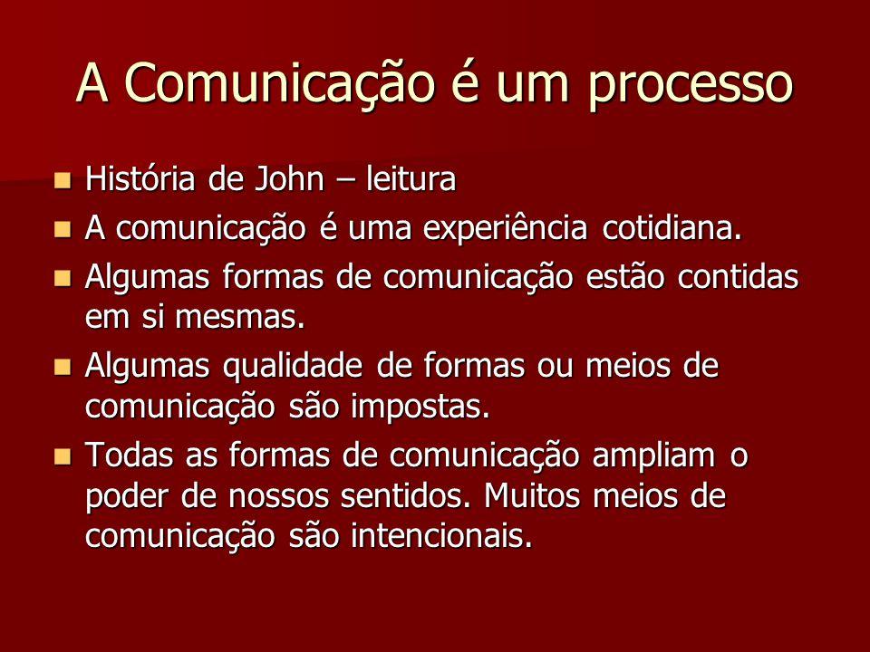 A Comunicação é um processo História de John – leitura História de John – leitura A comunicação é uma experiência cotidiana. A comunicação é uma exper