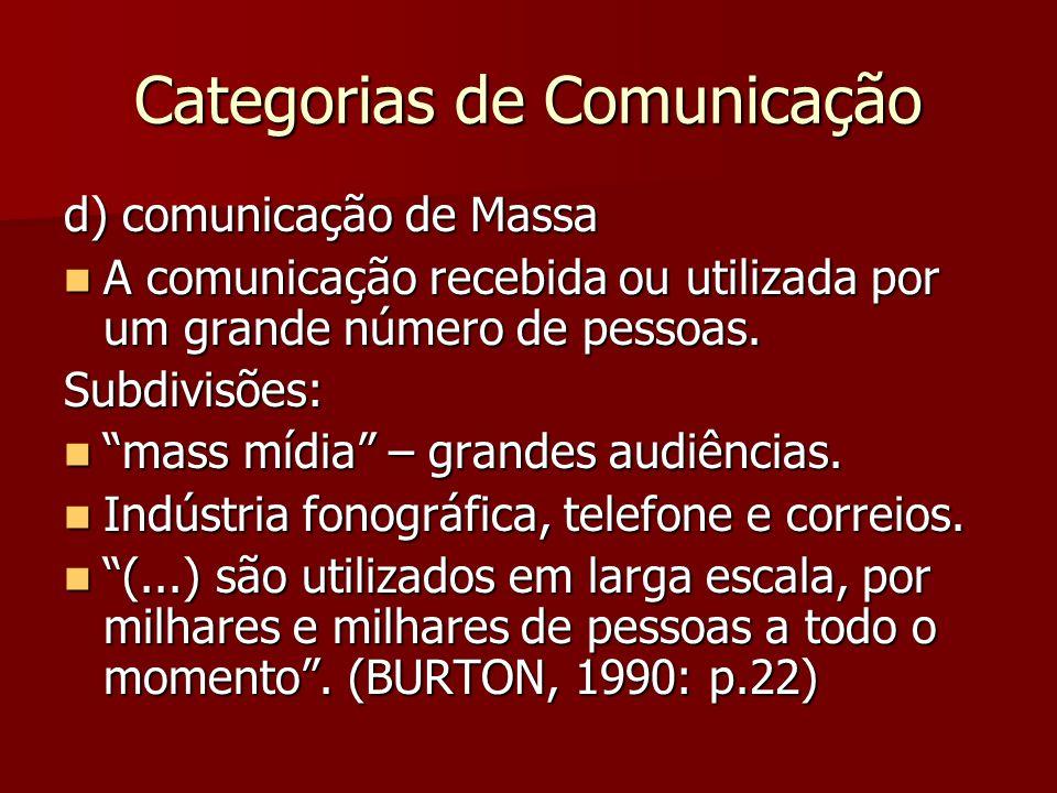 Categorias de Comunicação d) comunicação de Massa A comunicação recebida ou utilizada por um grande número de pessoas. A comunicação recebida ou utili