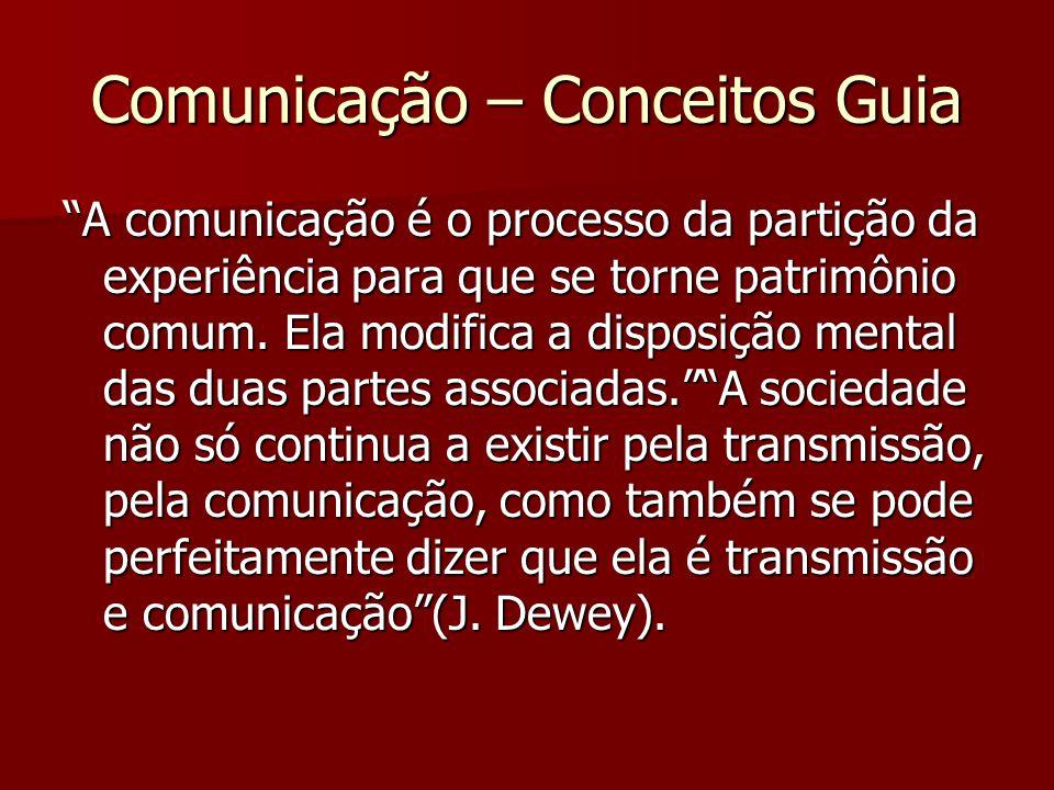 Comunicação – Conceitos Guia A comunicação é o processo da partição da experiência para que se torne patrimônio comum. Ela modifica a disposição menta