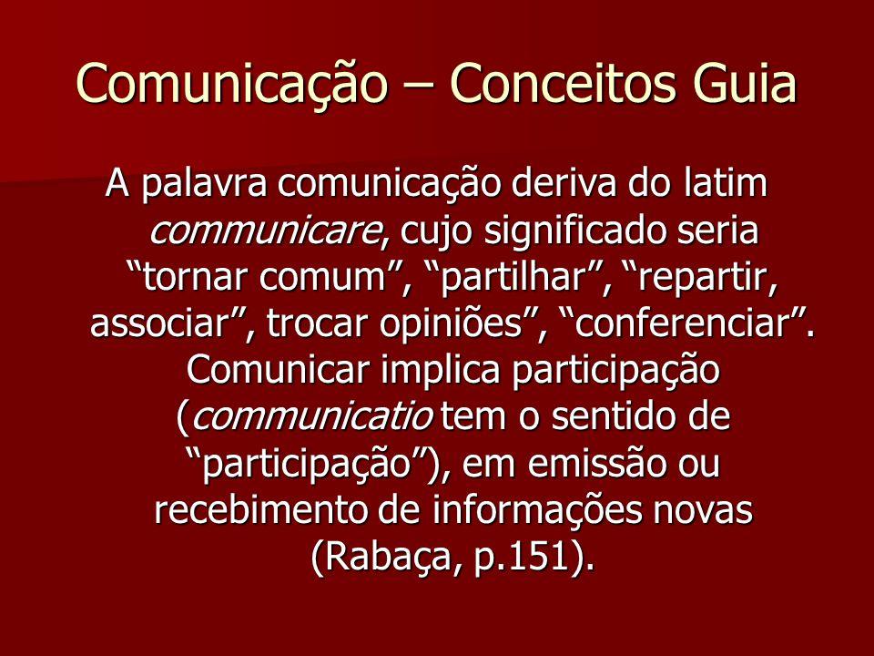 Comunicação – Conceitos Guia A palavra comunicação deriva do latim communicare, cujo significado seria tornar comum, partilhar, repartir, associar, tr