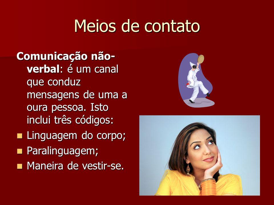 Meios de contato Comunicação não- verbal: é um canal que conduz mensagens de uma a oura pessoa. Isto inclui três códigos: Linguagem do corpo; Linguage